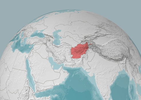 Map of Afghanistan on a planisphere, mountain reliefs and sea bathymetry. Physical borders of the nation, satellite view. Globe
