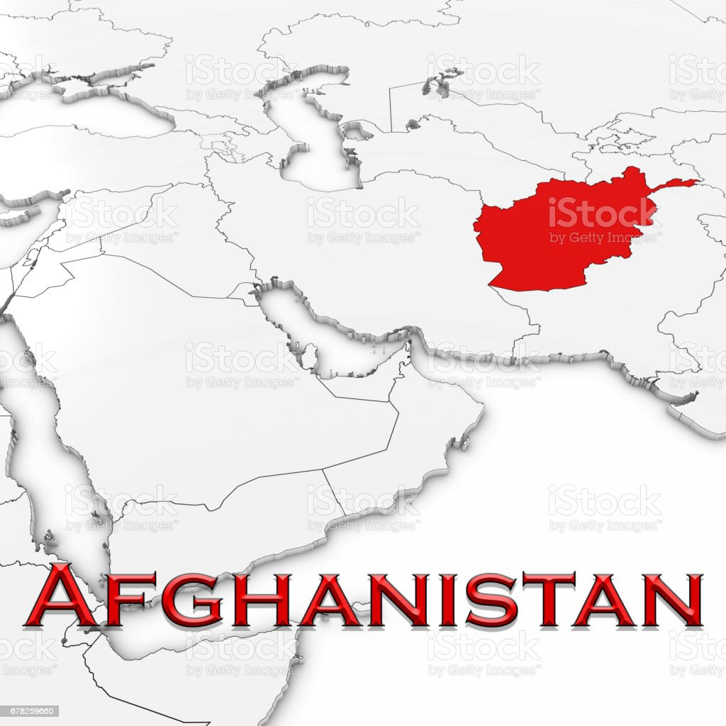 3d Map Of Afghanistan With Country Name Highlighted Red On White