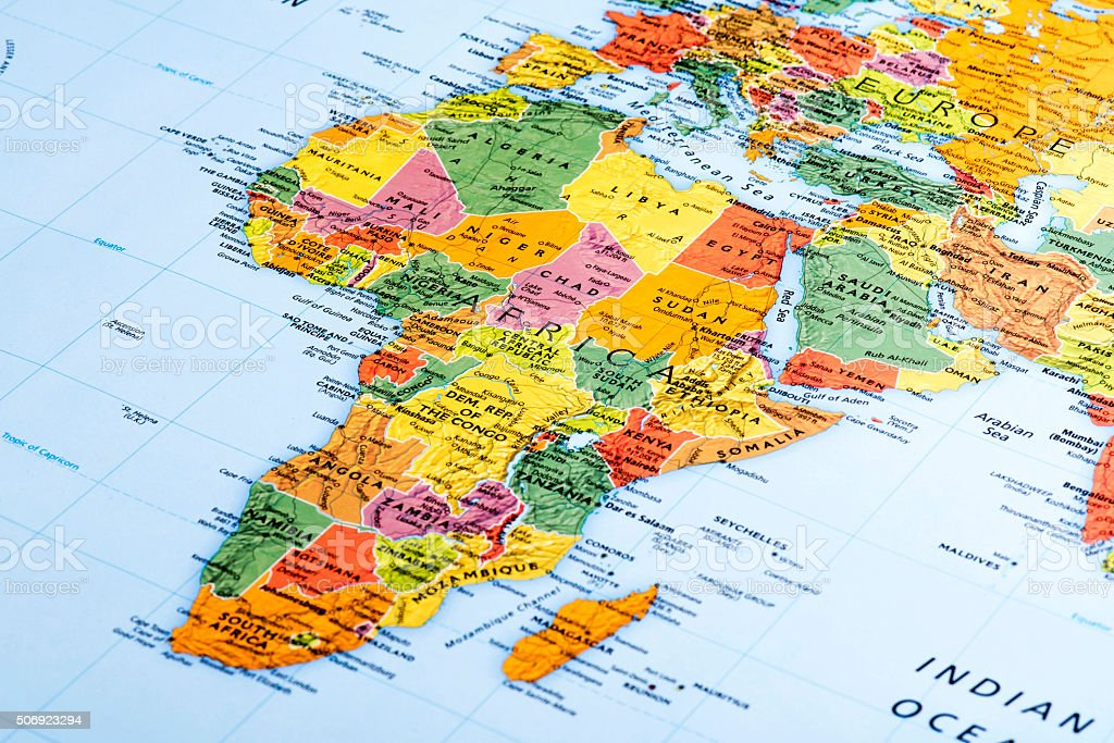 Map of Africa Continent stock photo