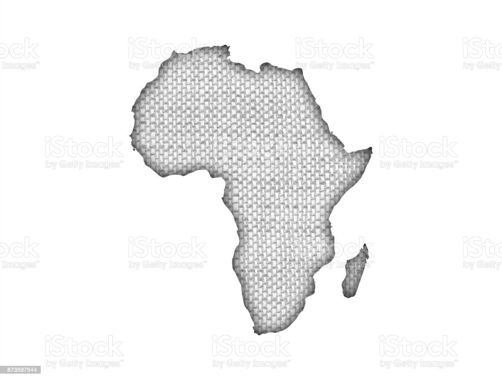 Map of Africa on old linen stock photo
