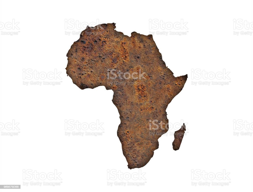 Map of Africa on rusty metal stock photo