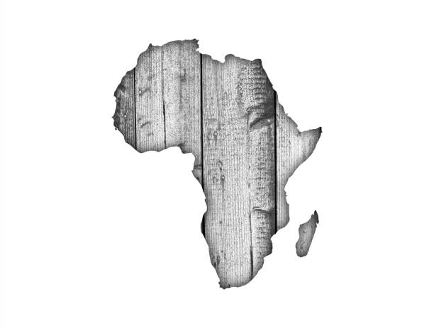 Map of Africa on weathered wood - foto stock