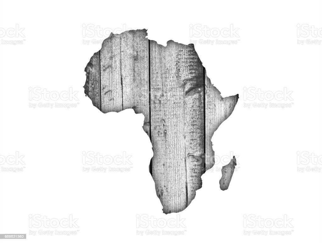 Map Of Africa On Weathered Wood Stock Photo