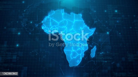 Map of Africa with Countries on blue digital background. All source data is in the public domain:  https://www.naturalearthdata.com/downloads/10m-cultural-vectors/