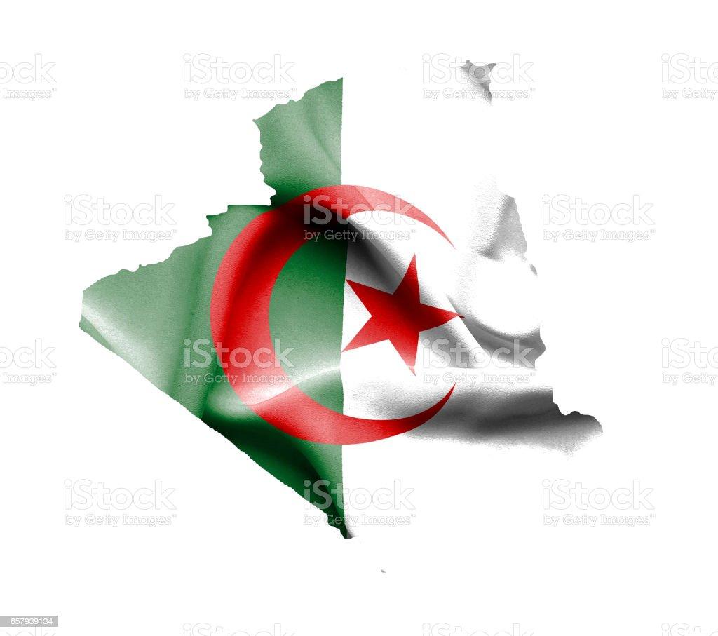 Mapa de Argelia con bandera aislado en blanco - foto de stock