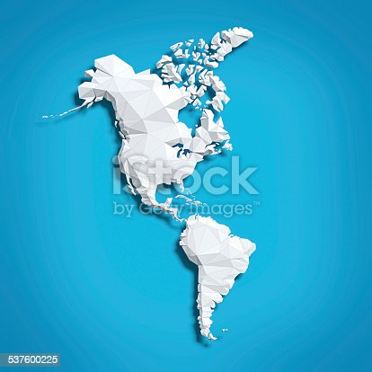 Low poly map of North and South Americas on blue background.