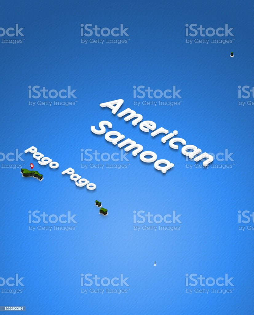 Map Of American Samoa 3d Isometric Perspective Illustration stock