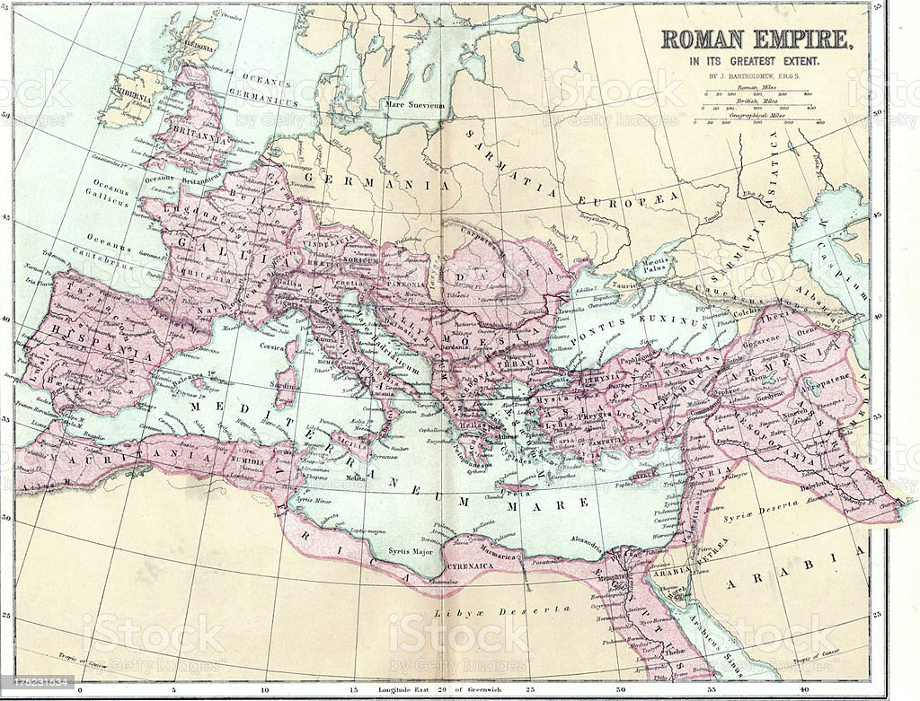 Map of Ancient Roman Empire stock photo