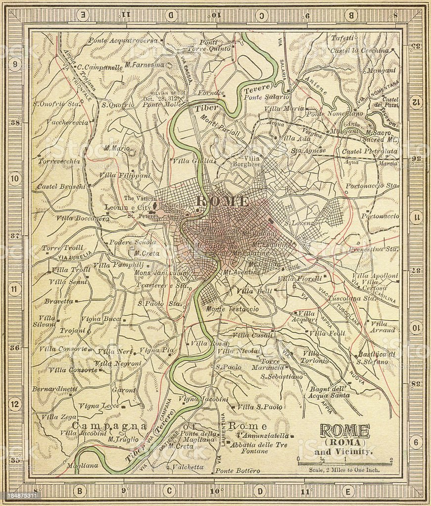Map of Ancient Rome background stock photo