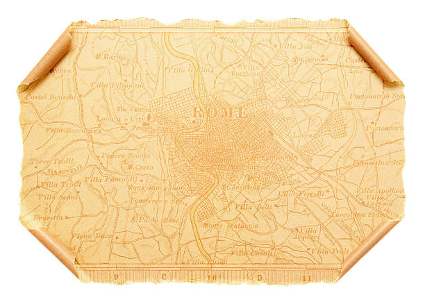 Map of Ancient Rome on scroll paper background stock photo