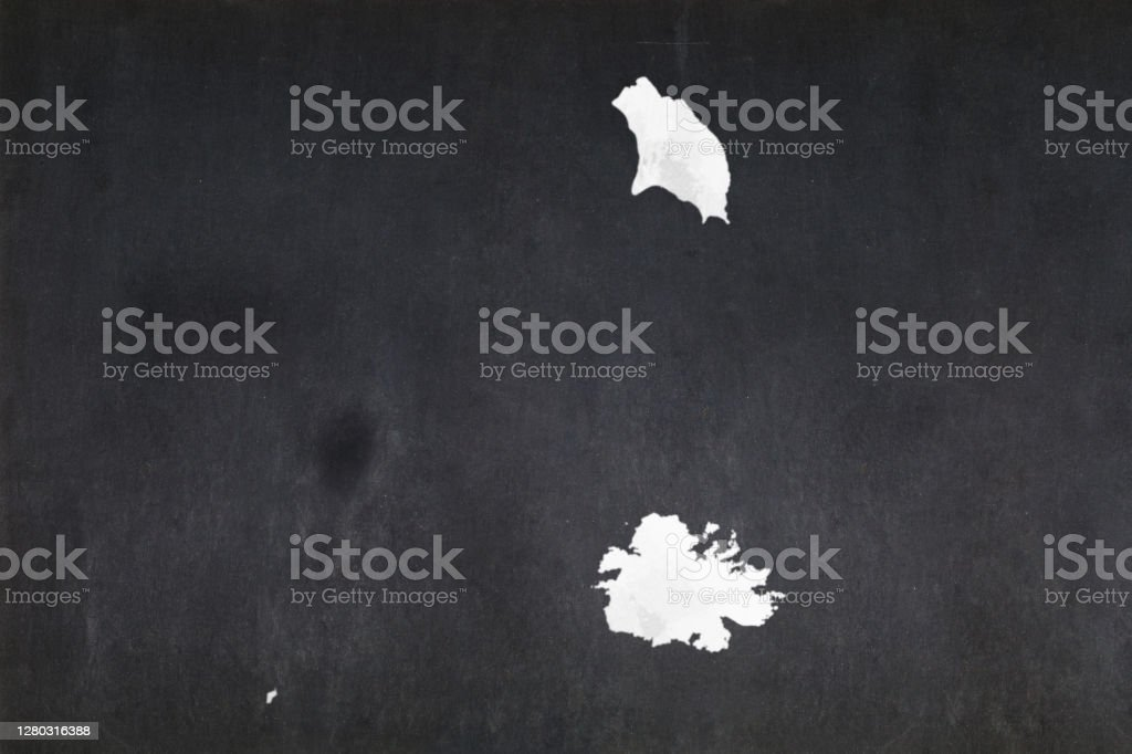 Map of Antigua and Barbuda drawn on a blackboard Blackboard with a the map of Antigua and Barbuda drawn in the middle. Antigua & Barbuda Stock Photo