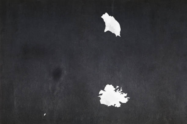 Map of Antigua and Barbuda drawn on a blackboard stock photo
