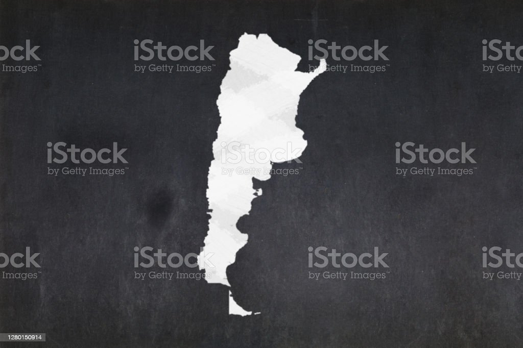 Map of Argentina drawn on a blackboard Blackboard with a the map of Argentina drawn in the middle. Argentina Stock Photo
