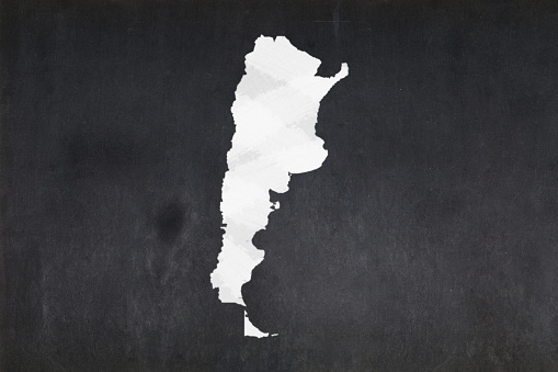 Map Of Argentina Drawn On A Blackboard Stock Photo - Download Image Now