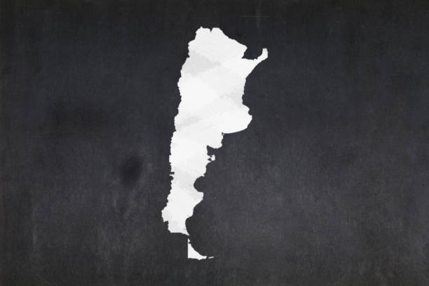 Map of Argentina drawn on a blackboard stock photo