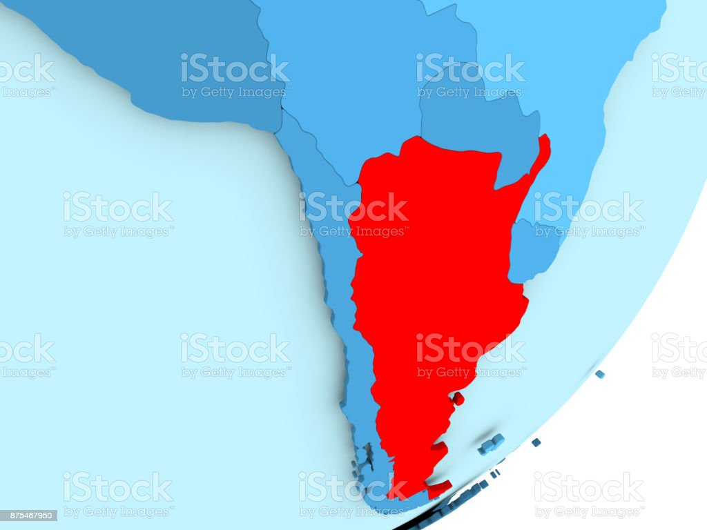 Map of Argentina on blue political globe stock photo