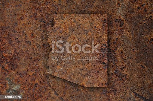Map of Arizona on rusty metal