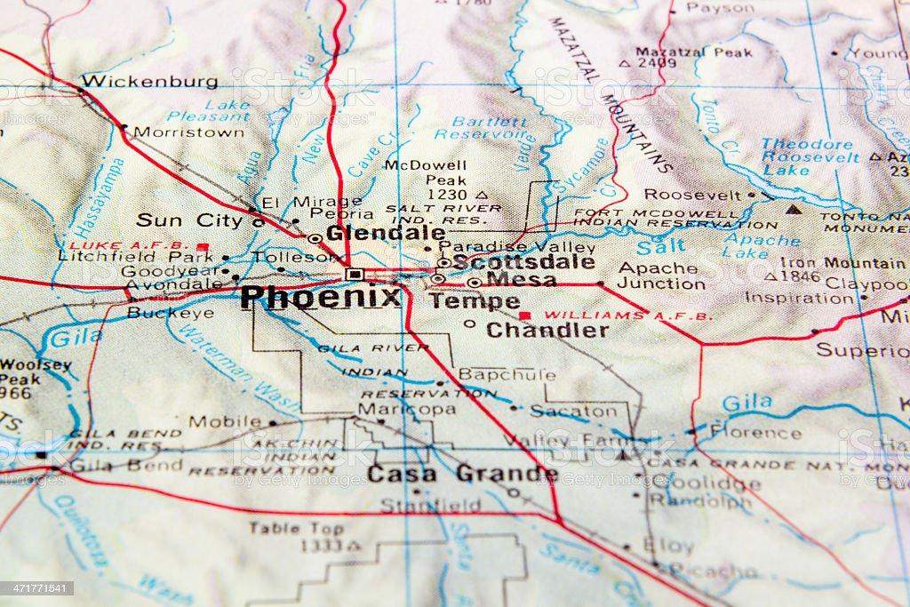 Map of Arizona zoomed in on area around Phoenix, Arizona stock photo