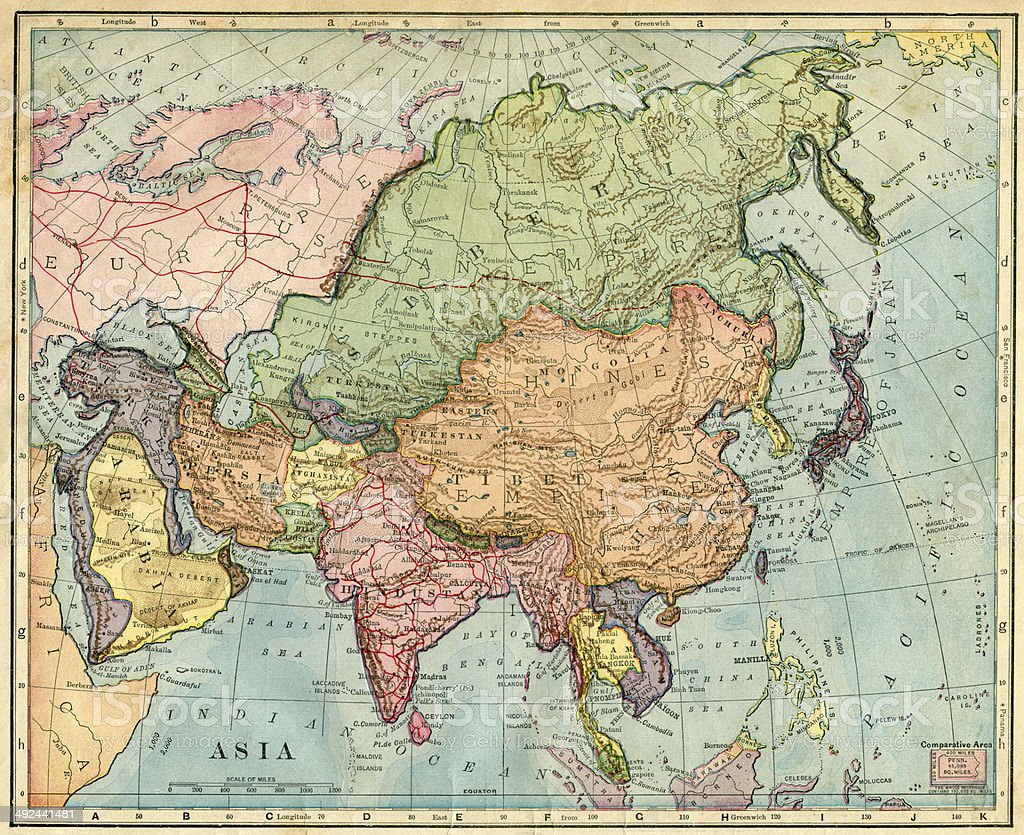 Map Of Asia 1896 stock photo