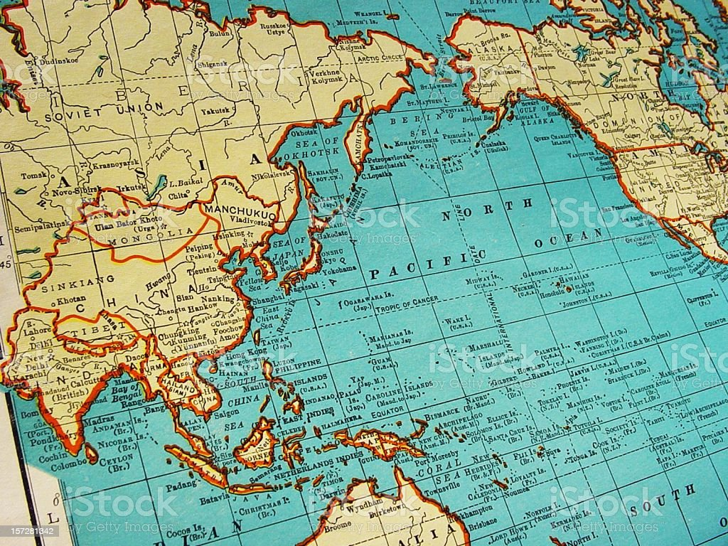 Mapa de Asia 1942 - foto de stock