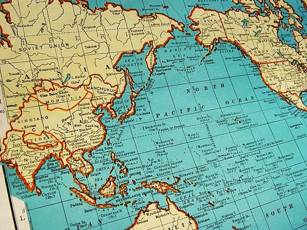 mapa de ásia 1942 - oceano pacífico imagens e fotografias de stock