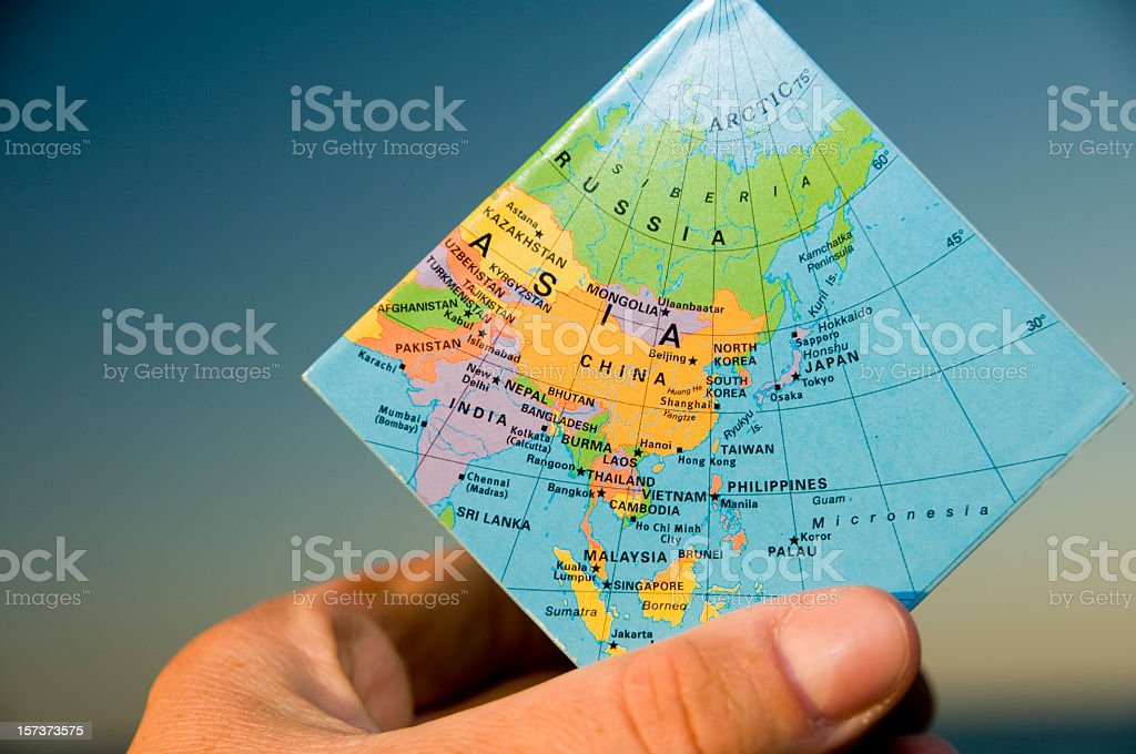 Map of Asia on a small map square stock photo