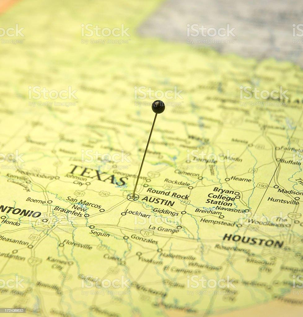 Austin Texas Karte.Karte Von Austin Und Houston Texas Makro Mit Reisepin Stockfoto Und