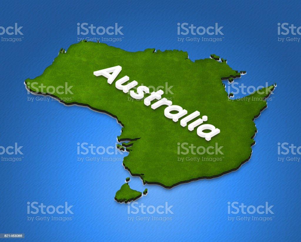 Map of Australia. 3D isometric illustration. stock photo