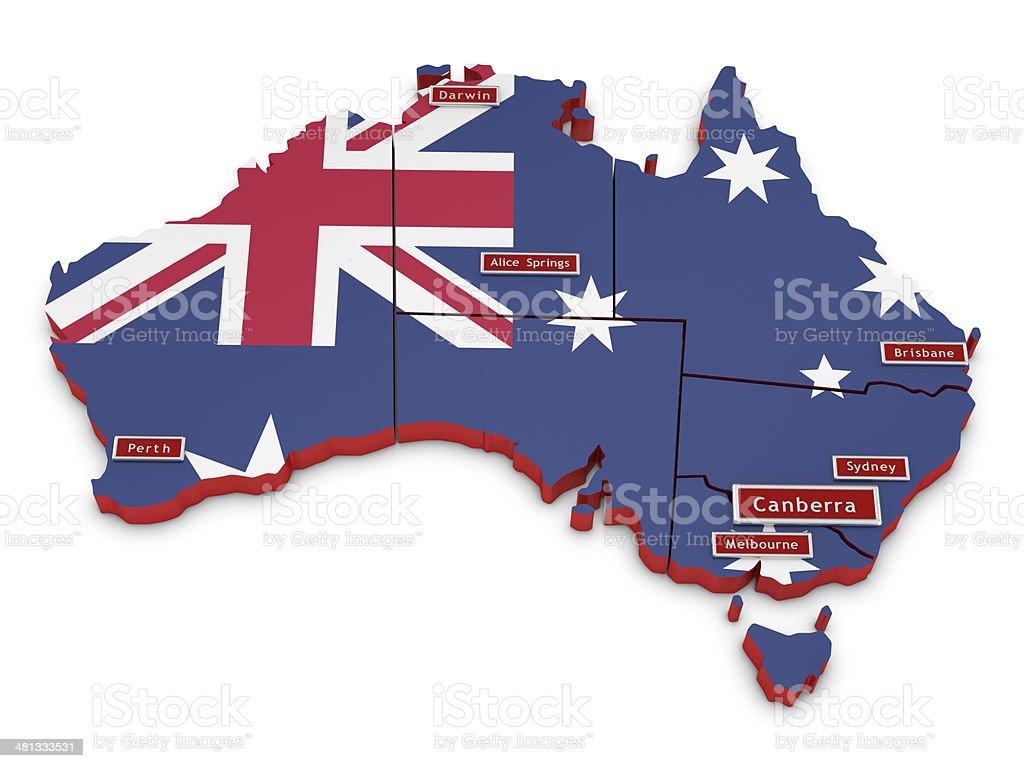 Map of Australia and Big Cities stock photo