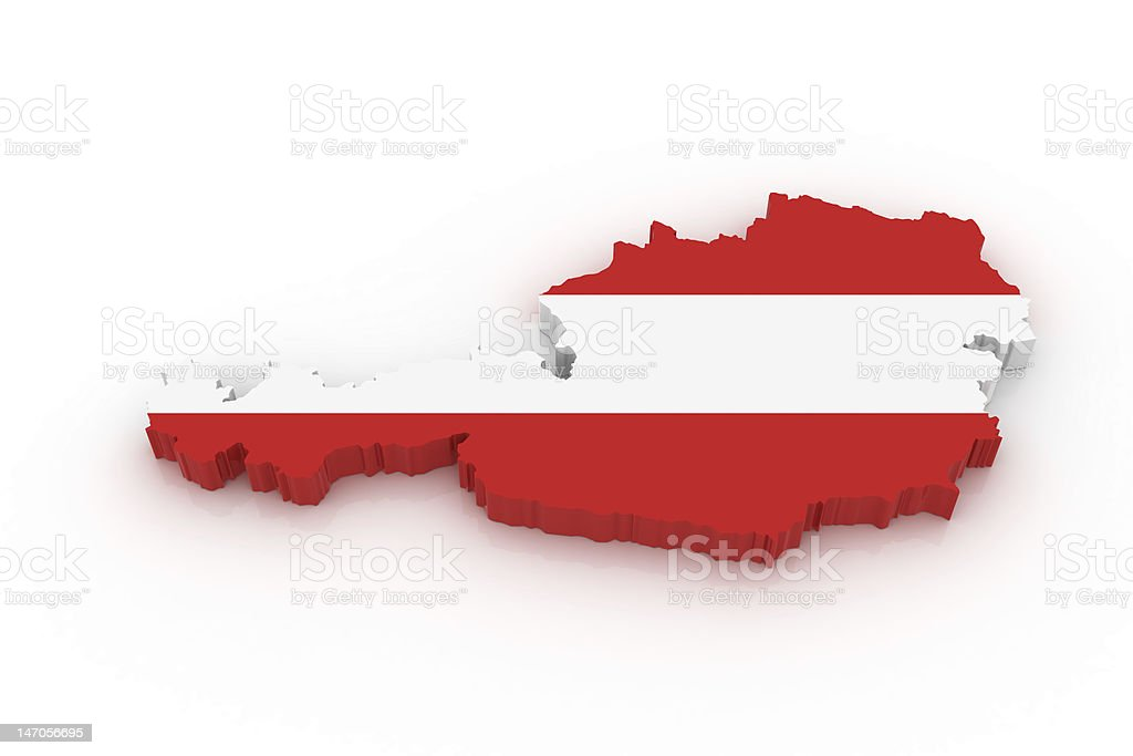Map of Australia in red and white royalty-free stock photo