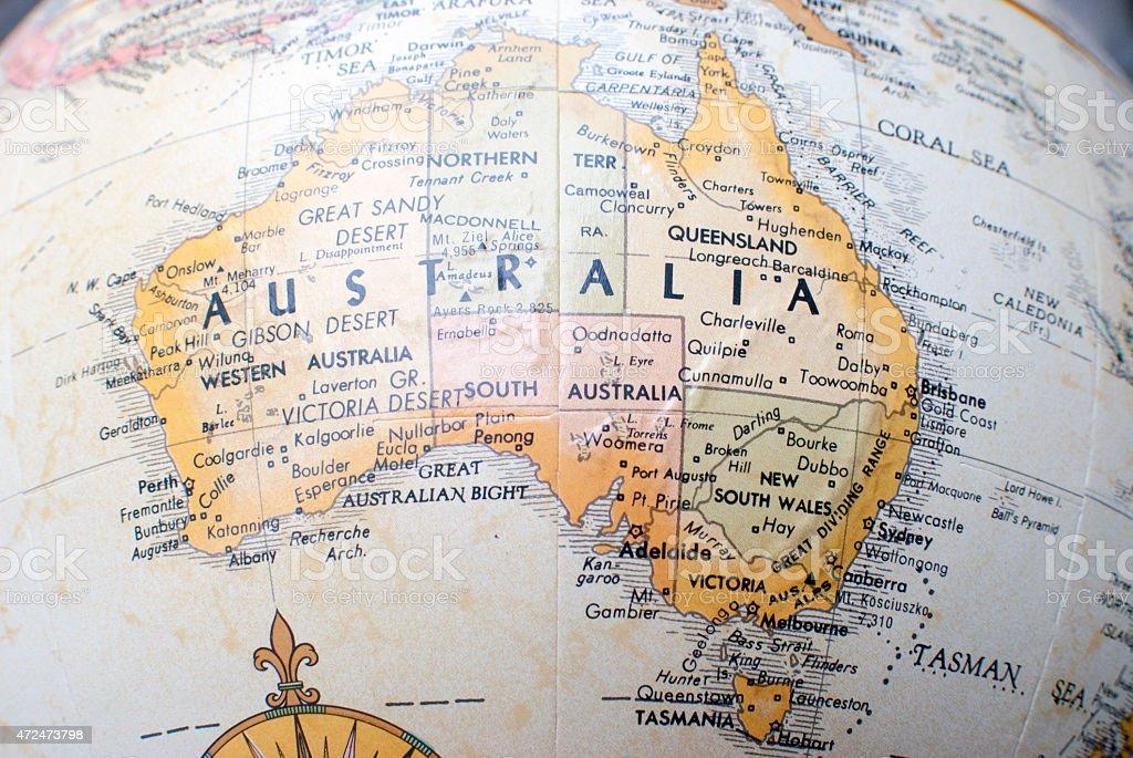 Map of Australia on a world Atlas stock photo