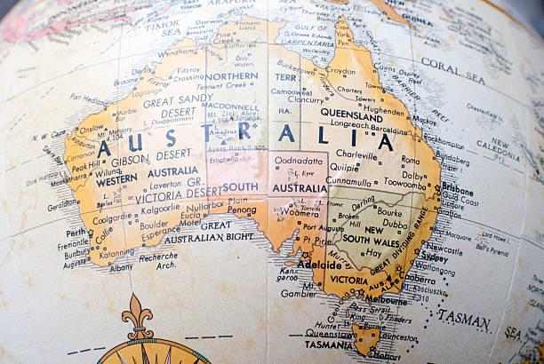 호주 지도 세계 (atlas 포함) 에 대한 - 태즈먼 해 뉴스 사진 이미지
