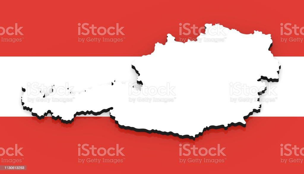 3d Karte Osterreich.3d Karte Von Osterreich Auf Der Nationalflagge Stockfoto Und