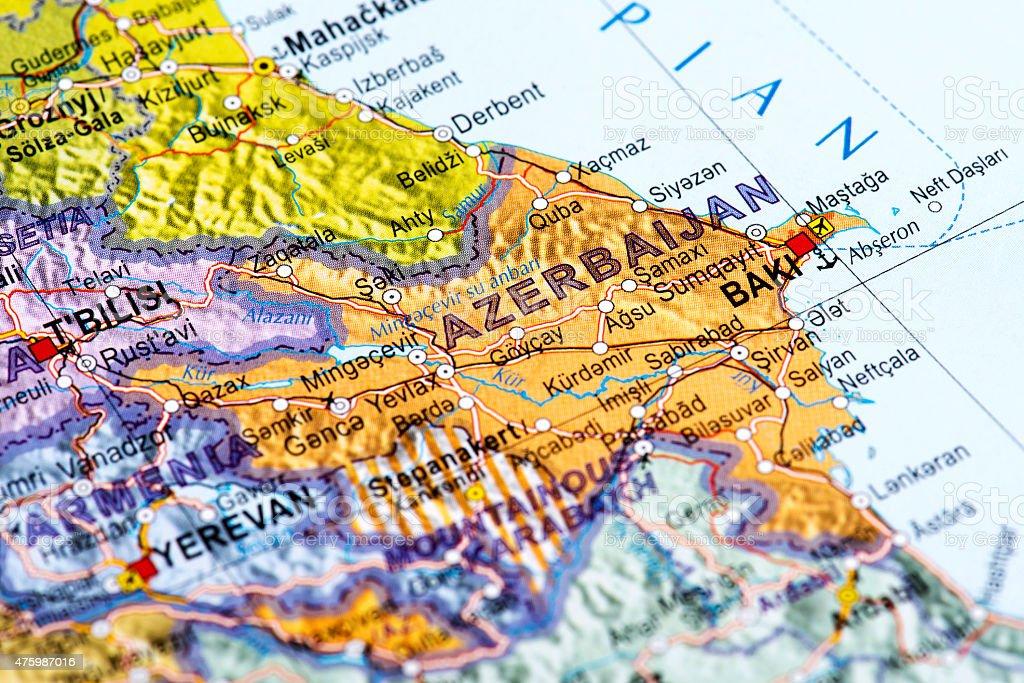 Baku Aserbaidschan Karte.Karte Von Baku In Aserbaidschan Stockfoto Und Mehr Bilder