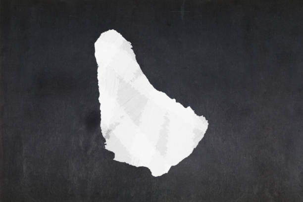 Map of Barbados drawn on a blackboard stock photo