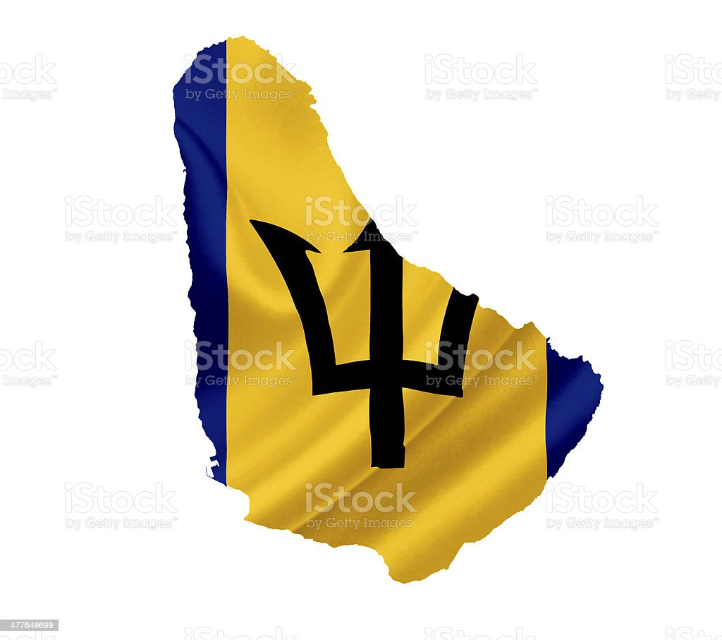 Map of Barbados with waving flag isolated on white stock photo