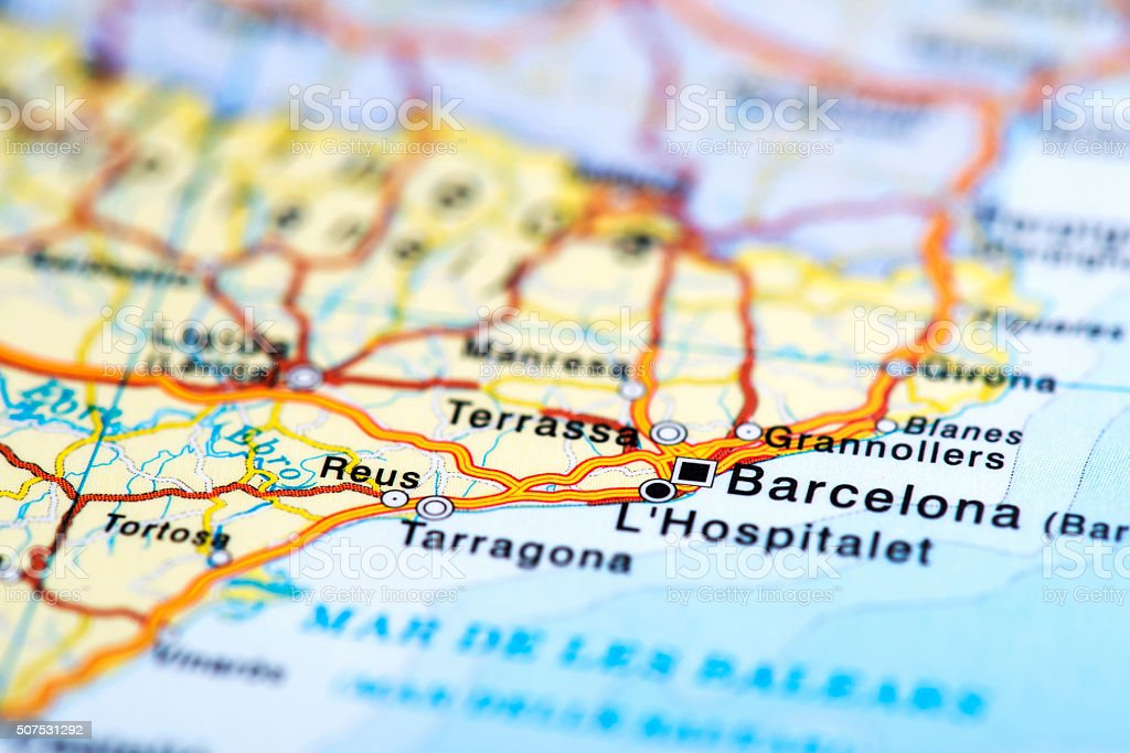 Map Of Barcelona Spain Stock Photo Download Image Now Istock