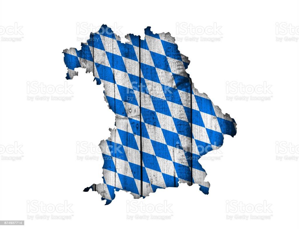 Karte von Bayern auf verwittertem Holz – Foto