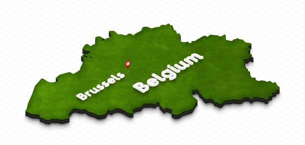 벨기에의 지도입니다. 3 차원 isometric 관점 그림입니다. 스톡 사진