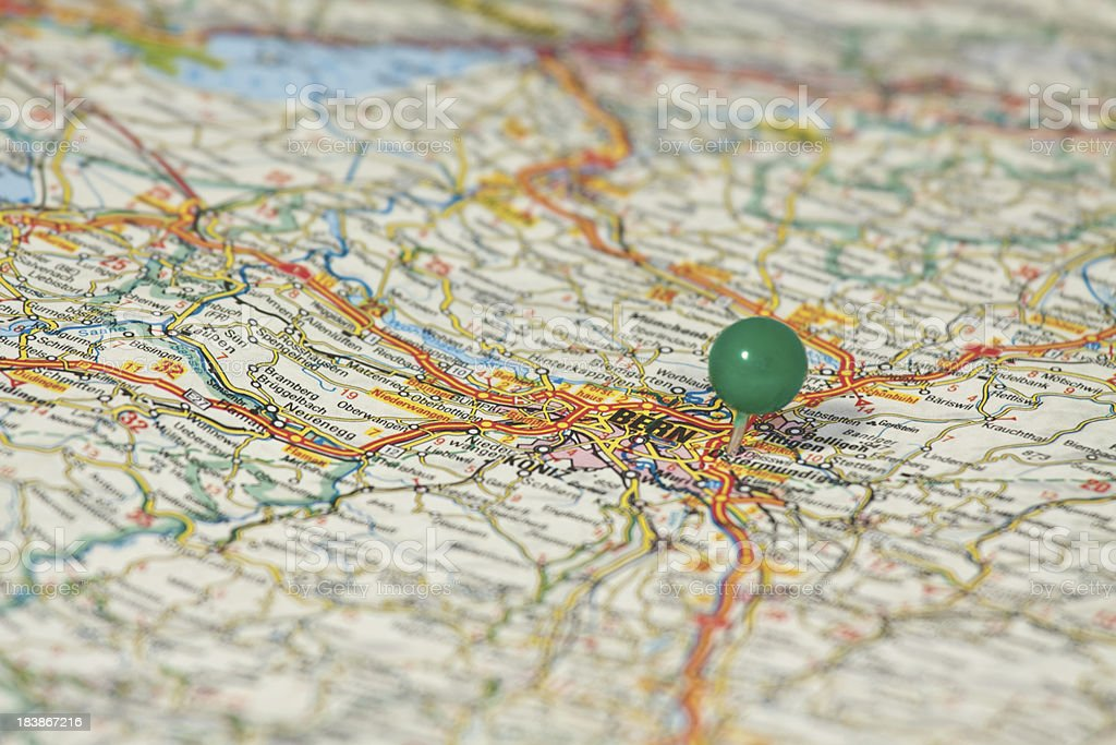Map of Bern with green pin