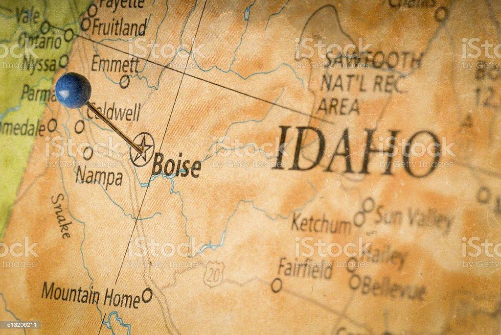 Map of Boise Idaho stock photo