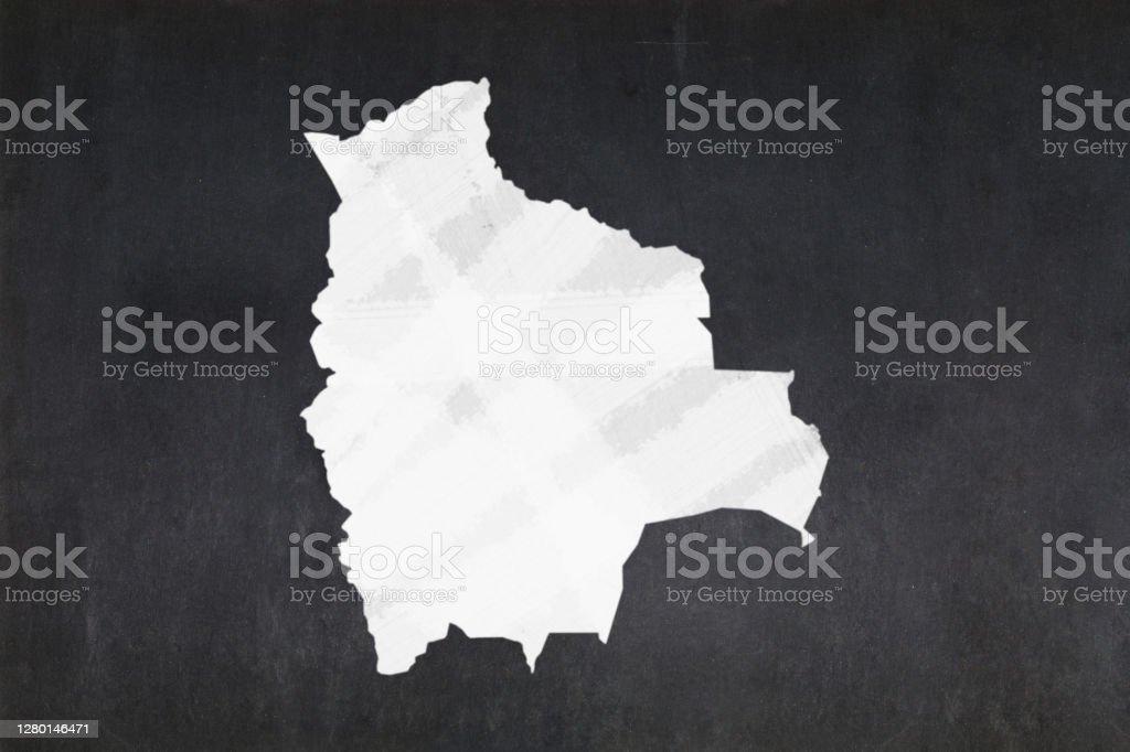 Map of Bolivia drawn on a blackboard Blackboard with a the map of Bolivia drawn in the middle. Backgrounds Stock Photo