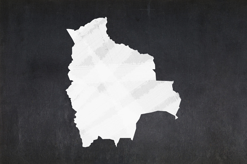 Map Of Bolivia Drawn On A Blackboard Stock Photo - Download Image Now