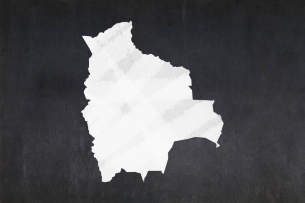 Map of Bolivia drawn on a blackboard stock photo