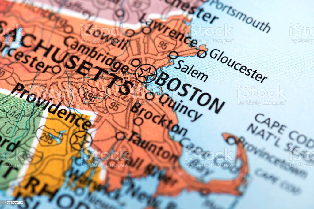 Map of Boston, Massachusetts State in USA stock photo