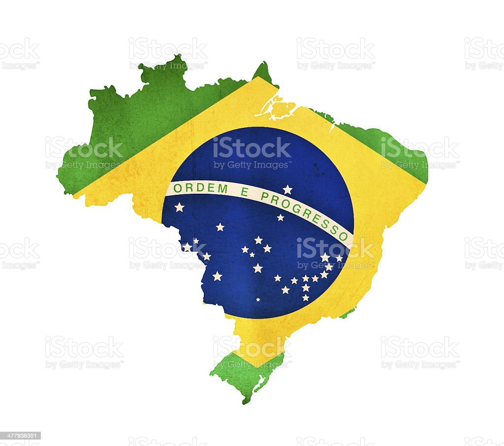 Map of Brazil isolated stock photo