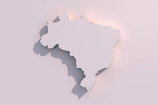 3D map of Brazil stock photo