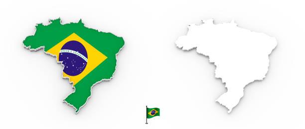 Mapa 3D do Brasil branca silhueta e bandeira - foto de acervo