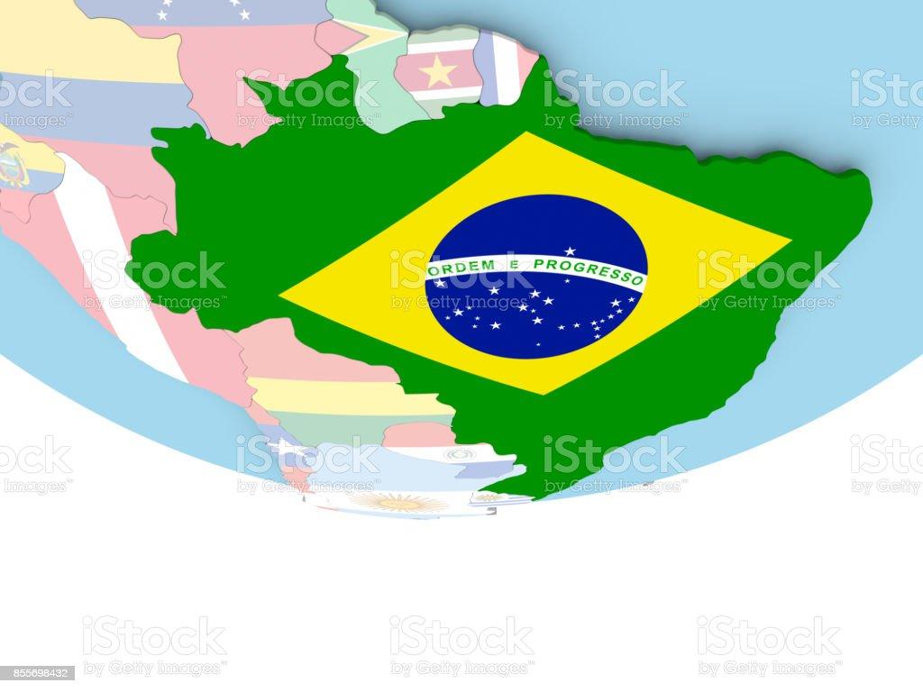Brasilien Karte Welt.Karte Von Brasilien Mit Flagge Auf Der Ganzen Welt Stockfoto Und