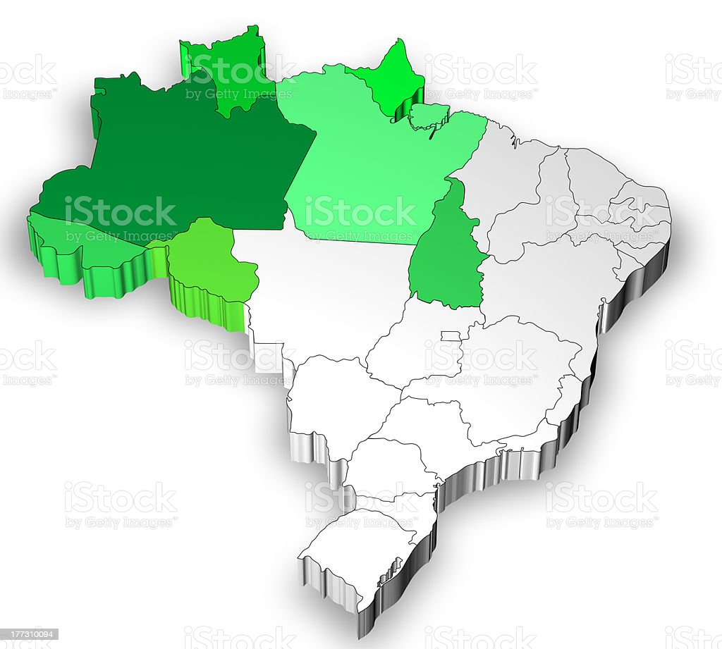 Map of Brazil with north west region royalty-free stock photo